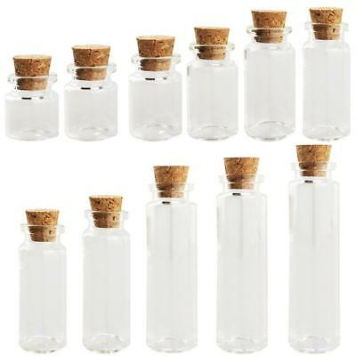1pc Empty Clear Glass Bottle Container Message Mini Glass Jars With Cork Stopper