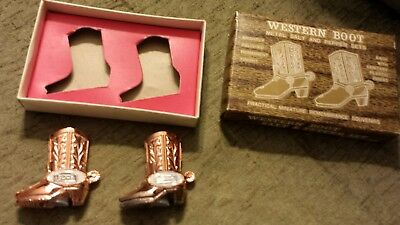 Vintage Idaho Salt & Pepper Shakers Metal Cowboy Boots with Spurs NEW in BOX