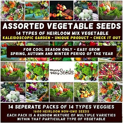 Mixed Seeds Spring Summer Heirloom Vegetable Seeds 25 Packets Bulk Value Garden