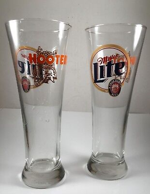 Pair of Miller Lite Hooters tall glasses brewery collectible