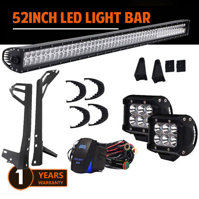 """52in 300W Straight LED Work Light Bar COMBO Offroad For Truck w/18W 4"""" SPOT Pods"""