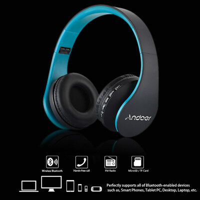 Foldable Bluetooth Stereo Headphone Earphone Headset Mic MP3 FM SD TF Blue Y3D2