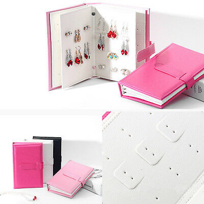 Jewelry Stud Organizer Holder Book Travel Portable Earring Display Storage Case