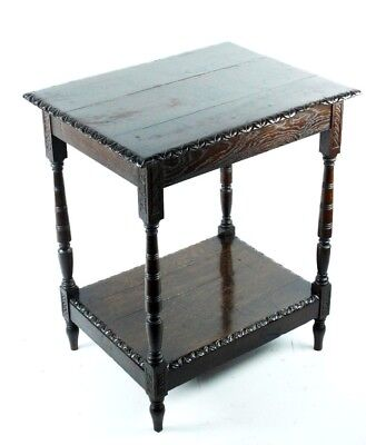 Antique Victorian Carved Mahogany Side Coffee Table - FREE Shipping [PL4807]