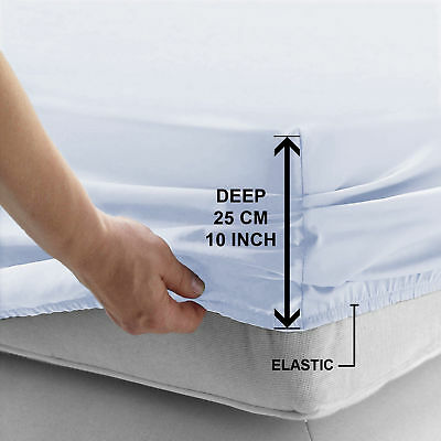 New White Fitted Sheet Bed Sheets For Bedroom / Mattress Single Double King Size