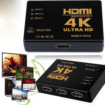 3 Port HDMI 4K Switch 3 In 1out Switcher Selector Splitter Hub for 1080p HDTV BS