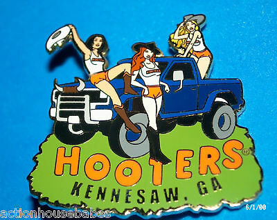 Hooters Restaurant Redneck Girls In Pickup Truck Kennesaw Ga Georgia Label Pin