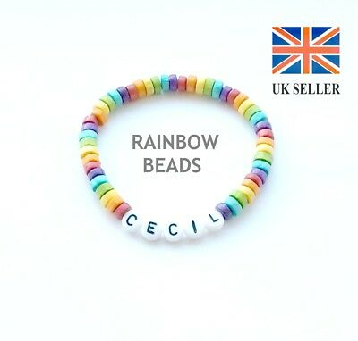 Children's Personalised Rainbow Wooden Bracelet, Party Bag Gift, Any Name, Color