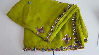 lime/olive wedding saree w/ blue, red mirror and bead embroidery.blouse included