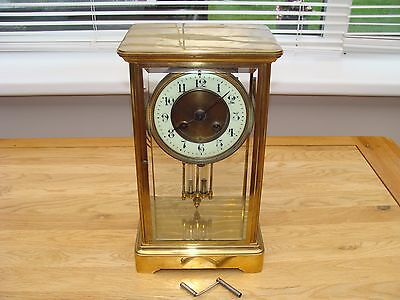 "French Four Glass Mantel Clock For Spares 12"" High"