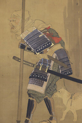 "JAPANESE HANGING SCROLL ART Painting ""Musha and Dog""  Asian antique  #E5694"