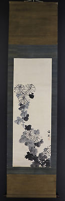 "JAPANESE HANGING SCROLL ART Painting ""Flowers"" Tani Buncho Asian antique  #E5689"