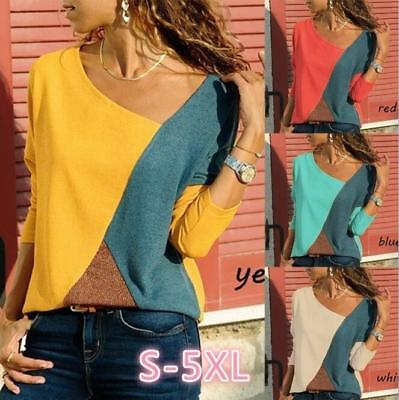 Plus Size Women Fashion Long Sleeve Patchwork T Shirts Casual Top Loose Blouse