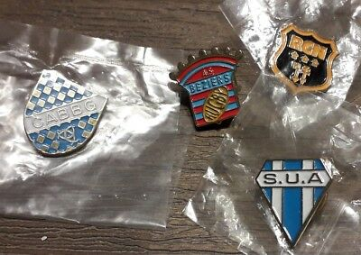Lot De 4 Pins Logo Club Rugby Beziers Nimes Agen Begles
