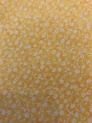 Yellow FQ Fat Quarter Fabric Blended Small Flowers Patterns 100% Cotton Quilting