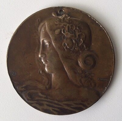 Bronze Medal, French Art Nouveau, Female Head, signed F Rasumny, Boxed