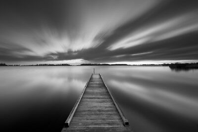 Beautiful scenery black-white lake  Print Home Decor Wall Art choose your size
