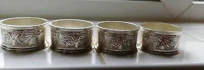 4 x VINTAGE SILVER PLATED ETCHED NAPKIN RINGS. MAYELL QUEEN ANNE?