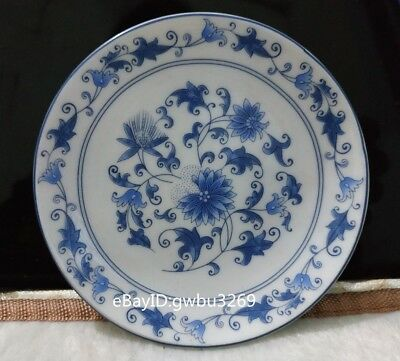 Marks Chinese Blue and white porcelain Painting Flower theme Plate - Pen station