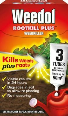 Weedol RootKill Plus Weedkiller 3 tubes Liquid Concentrate Treats up to 90m2