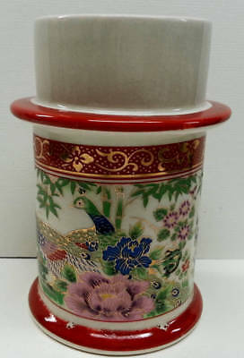 Asiatic Pheasants Porcelain Candle Holder, Peacock Bird Red Gilded Candlestick