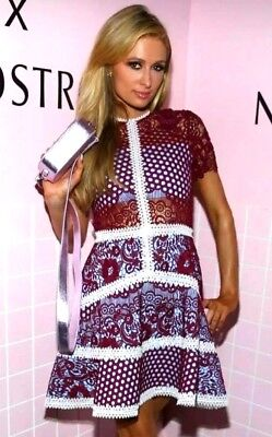 Alexis Rustikan Embroidered Crochet Burgundy Mosaic A Line Flare Dress 0 2 / XS