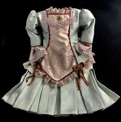 """Finest Doll Dress for app 19"""""""" Antique Doll Hand Pleated"""