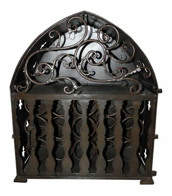 1085-801: Iron / Metal Gothic Wine Rack Cabinet - Holds up to 35 Bottles