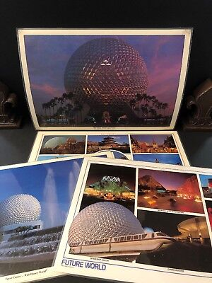 EPCOT CENTER / Walt Disney World Vintage Vinyl Placemat Lot of 6 /World Showcase