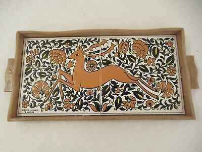 Vintage Retro Small Wooden Floral Tiled Tray Ibiscus Keramik with Stagg/Deer