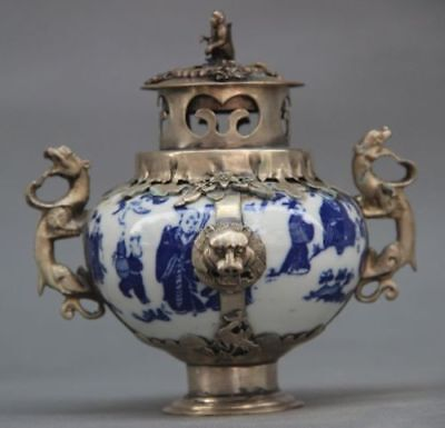 CHINESE OLD PORCELAIN HANDWORK ARMORED KYLIN LION DRAGON INCENSE BURNER white