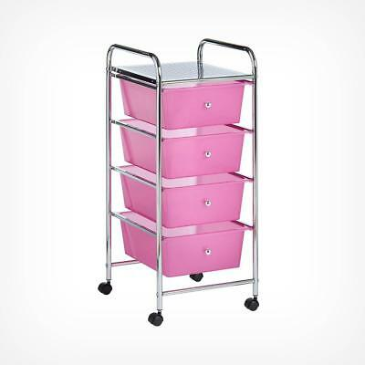 4 Drawer Trolley - Pink.Organise small items neat, tidy and easily accessible.