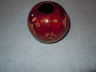 """C. M. Chino signed seed pot, HAAKU just over 3"""" tall and 4"""" wide, bird detail"""