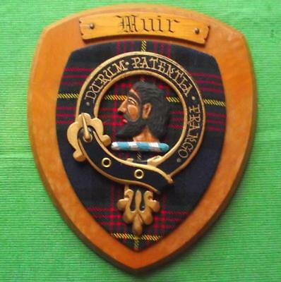 Vintage Old Scottish Carved Oak Clan MUIR Tartan Plaque Crest Shield  z