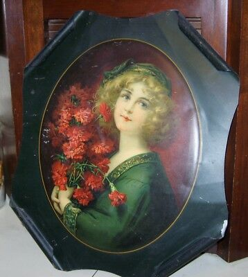 Rolled Tin Advertising Sign 1908 Carnation Girl Meek Co