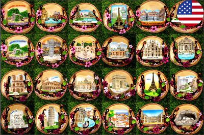 Cute Art Vintage Fridge Magnet Country City Collection Gift Home decor Kitchen