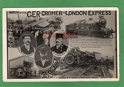 Train Wreck GER Cromer to London Express Colchester RP pc 1913 Gothard Ref P70