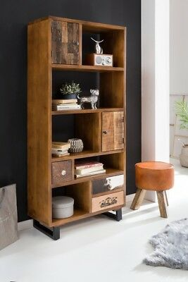 FineBuy Bücherregal KANPUR 180 cm Schublade Standregal Wandregal Holzregal groß