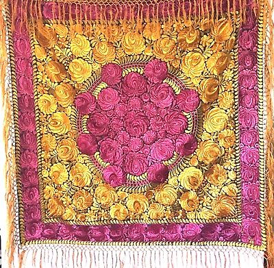 VTG Large Hungarian Matyo Tablecloth Hand Silk Embroidered Floral W/ Gold Fringe