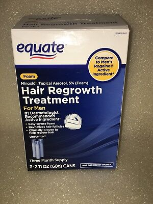 Equate Foam Hair  regrowth treatment for men 3 month supply 3 cans exp 04/2020