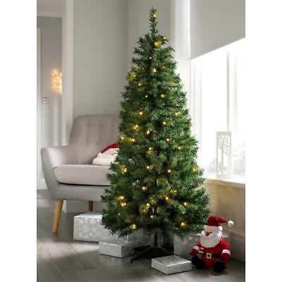 WeRChristmas Pre Decorated Christmas Tree, 50 Warm White LEDs Green 5 feet 1.5m