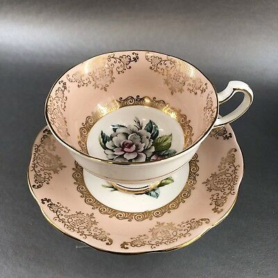 Vintage Royal Standard Bone China Peach Pink Teacup & Saucer Gold England Tea