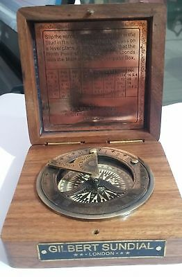 """ANTIQUE NAUTICAL 3.5"""" SUNDIAL COMPASS gilbert fit in box NEW YEAR Gifts"""