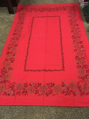 Red Gold Vintage Christmas Tablecloth 52 X 82 Pinecones & Poinsetti ias