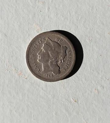1866 Three Cent Nickel / Most of Liberty visible
