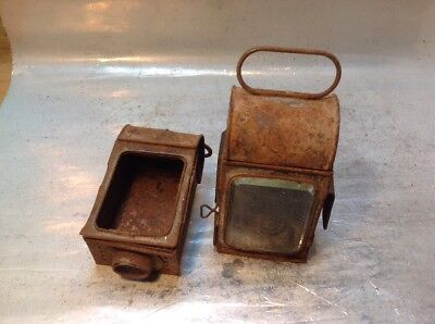 Antique Carriage Lamps For Spares Or Repairs Nice Thick Beveled Edge Glass