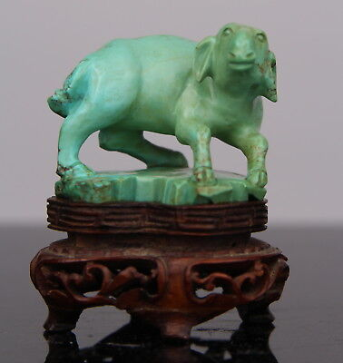 Antique Chinese Carved Turquoise Figure Statue Goat Wood Stand 19th C. Qing