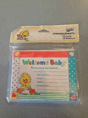 SUZY'S ZOO Baby Shower Announcement Sealed Pkg of 8