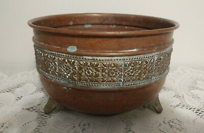 Vtg Copper Planter Pot w/ Ornate Brass Feet & Beautiful Floral Design Quite Old