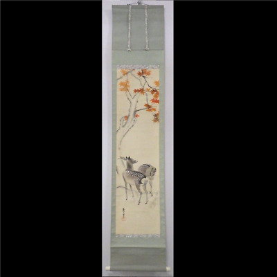 Antique Japanese Scroll Painting, Japanese Maple and Deer Vintage Hanging #12